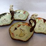 Rabbit tidbit trays with sculpted rabbit knobs by Tracie Griffith Tso, studios 22, 19.