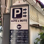 Sign for parking is 2 blocks before you get to Hotel Savoia