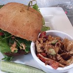 French Lentil & Black Bean Burger with a side of Pasta Salad