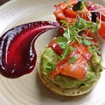 Avocado, smoked salmon, beetroot (all with a bit of difference) on a mini crumpet.  Super tasty