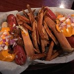 coney dogs with French fries