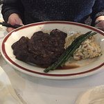 my wife's ribeye steak, asparagus, and bacon mashed potatoes. The steak was over-cooked.