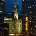 view from room- Wrigley building at night