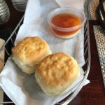 Delicious duck, gumbo appetizer, starter biscuits w/cream cheese and pepper jelly