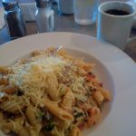 Penne with white sauce, chicken and shrimp and the fixings...so flavorful!