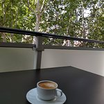 view from balcony; coffee from restaurant.