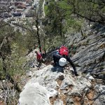 climbing down the via ferrata