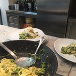 Tagliatelle with peas and asparagus