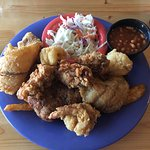 The Fisherman's Platter: oysters, fish, shrimp and crabcake.