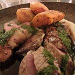 leg and backstrap of lamb, parsnip puree, roast pumpkin and salsa verde