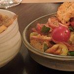 sides of crispy kipfler potatos, panzanella salad