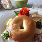 Dreamy bagel and lox (the 'flower' is the smoked salmon)