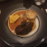 Braised Been Cheek with polenta and potato gratin
