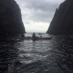 In Thunder Cove looking out towards the Atlantic. You paddle through this cave to get to it.
