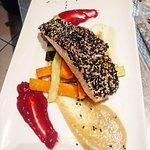 Silvio's specials:  Baby octopus w mango & oranhe gelatine Tassie Salmon sesame crusted w Campar