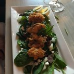 Spinach salad with fried Oysters