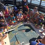 The kids are searching the pirate map for treasure! Just part of the fun!