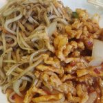 Udon noodles with sticky beef