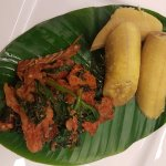 Steamed Plantain, Eforiro Assorted Meat and Stockfish