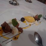 Chocolate variations with passionfruit ice-cream! Heavenly!