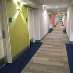 Super cool new 4th floor hallway, bright colors