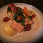 Salmon special with seared scallops and king prawns crushed potato cake and Spanish chorizo saus