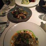 Mango tuna steak, brussel sprouts, steaks, 16 spice chicken, the chile relleno