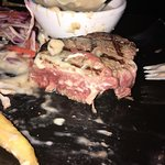 Excuse the mess!!! Mushroom Sauce all over my medium rare steak! It was delicious.