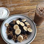 Granola, fruit, and yogurt. (fruit: bananas, blackberries, blueberries) - excellent