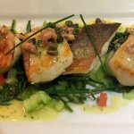 A quartet of beautifully cooked fish with shrimps, samphire etc. Heaven on a plate!