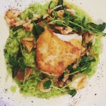 """seared halibut over pea lobster risotto. the """"big kahuna"""" roll was delicious too!"""