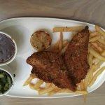 Chicken schnitzel. Bit small but yum