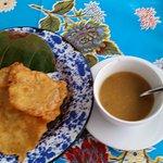 Plantain soup & salt cod chips as starter