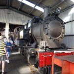 In the engine shed.
