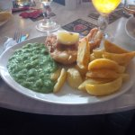 Chester UK: Mill & Spa Hotel: Fish & Chips with Mussy Peas