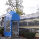 There is the railcar.....in all its stainless beauty.