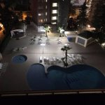 Night time view of the pool area.