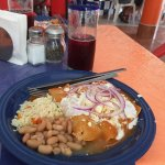 Chicken enchiladas with Marisol's special frijoles. Yum!