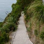 Steep downhill climb