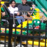 On a ride, with my daughter. A big first for me the scaredy cat. At Six Flags, Maryland, USA.