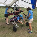 Getting ready for hang gliding at Florida Ridge Air Sports Park