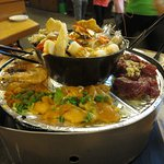 Arranging our seafood in BBQ Steamboat Hot Pot