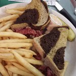 Corned beef sandwich and fries.
