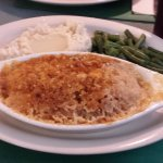Mash potatoes and green beans with entree