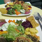 The vegan food at Cafe Ginger Paris on a lovely sunny day