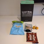 Loot bag and contents. Free snacks on arrival. Handy after a long day travelling.