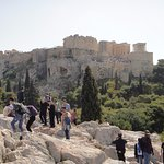 Uneven and slippery rocks but what a view of the Acropolis!