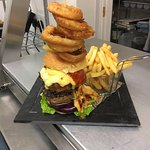 Double up cheeseburger with fries & onion rings