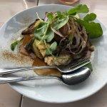 Bbq lamb rump with grilled eggplant, hummus, spiced yoghurt sauce