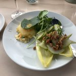 : cheese soufflé with endive, pear, cress & walnuts